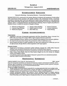 entertainment executive resume With entertainment industry resume