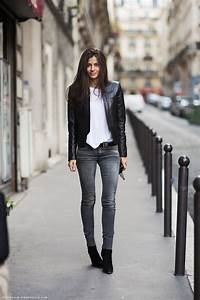 Cool-girl style inspiration Barbara Martelo in a basic white tee skinny grey jeans u0026 leather ...