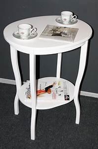 Tisch Weiß Holz : beistelltisch teetisch tisch oval 75 holz massiv wei ~ Indierocktalk.com Haus und Dekorationen