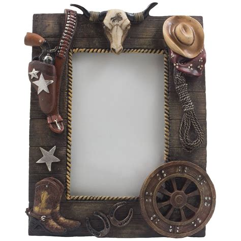 western picture frame cowboy texas longhorn boots hat