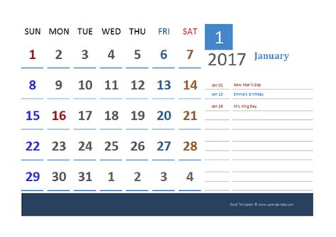 vacation calendar template 2017 2017 excel calendar for vacation tracking free printable templates
