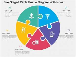 Five Staged Circle Puzzle Diagram With Icons Flat