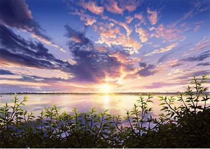 Anime Sunset Landscape Sky Lake 1920 Cloud