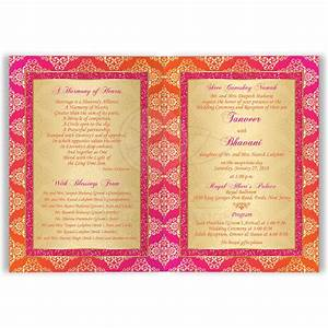 Indian Wedding Invitation Card Orange, Fuchsia, Gold