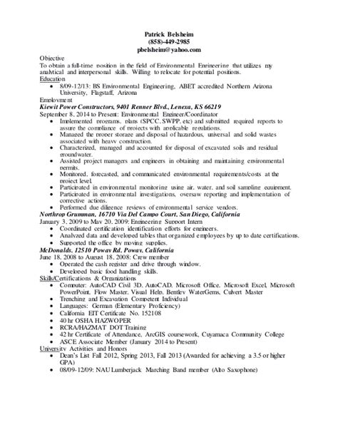 Environmental Engineer Resume Objective by Entry Level Environmental Engineering Resume 5