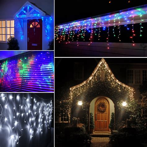 4m 8m 12m led icicle curtain christmas fairy lights eave