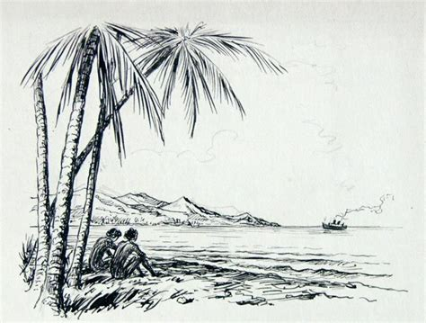 sketches   beach drawing  pencil cm  cm