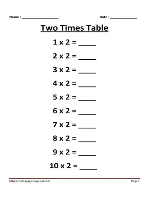 kids page 2 times multiplication table worksheet