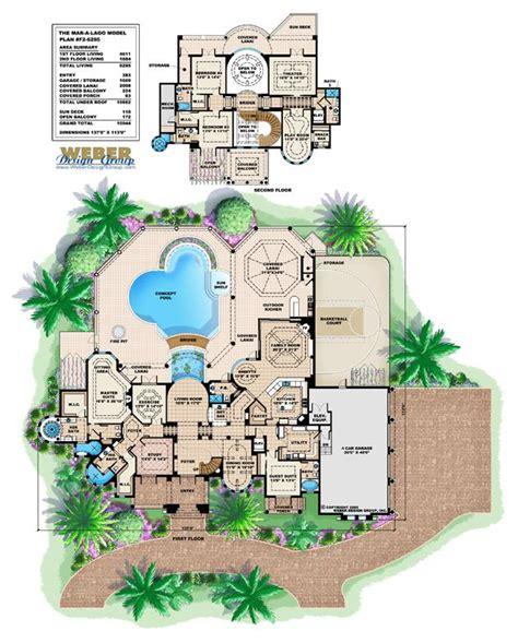 mediterranean house plan  story waterfront mansion floor plan wpool   house plans
