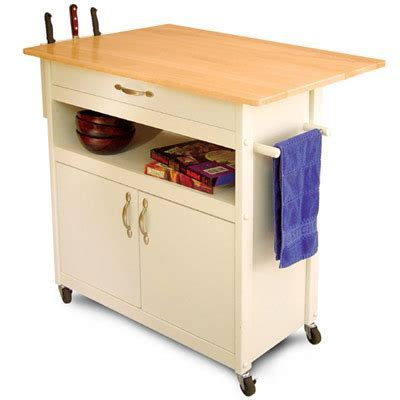 Drop Leaf Utility Butcher Block Kitchen Island Cart