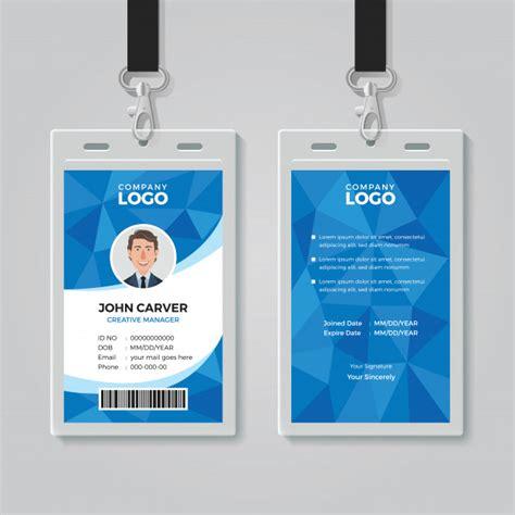 template id card gratis blue polygon office id card template vector premium