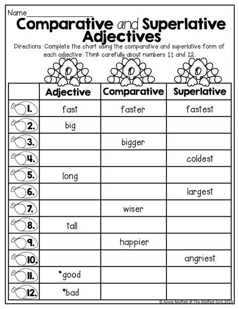 printable worksheets comparative  superlative