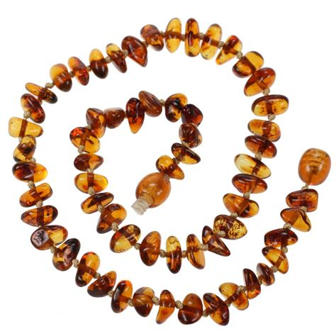 Genuine Baltic Amber Teething Necklace For Baby Cognac