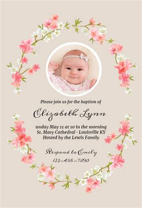 floral baby baptism christening invitation template