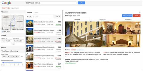 google tests its hotel finder as a new comparison ad atop