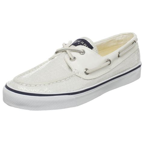 White Sperry Boat Shoes by Sperry Top Sider Womens Bahama Sequins Boat Shoe In White