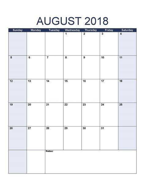 august  calendar printable template  canada uk