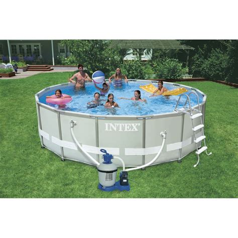 piscine hors sol autoportante tubulaire ultra frame intex ronde diam 4 88 m leroy merlin