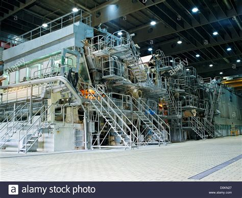 huge paper making machine   paper mill stock photo