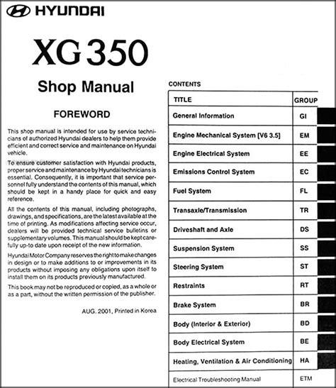 how to download repair manuals 2003 hyundai xg350 spare parts catalogs 2002 2003 hyundai xg 350 repair shop manual original