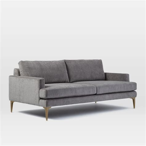 Contemporary Sofa Legs by Andes Sofa 194 Cm Metal Distressed Velvet West Elm