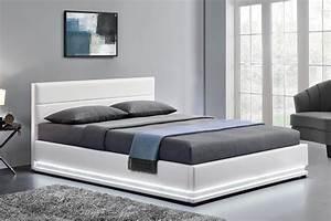 Lit Avec Rangement 140x190 : cadre de lit led avec coffre de rangement new york blanc 140 concept usine ~ Teatrodelosmanantiales.com Idées de Décoration
