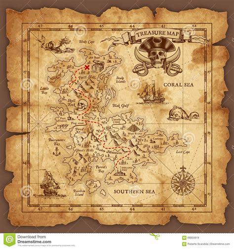 vector pirate treasure map stock vector illustration