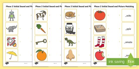 phase  initial sound  picture matching worksheet phase