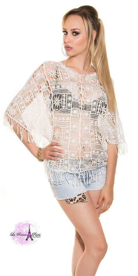 Comprar Blusa blanca transparente crochet online Blusas-Camisas lareinadeparis