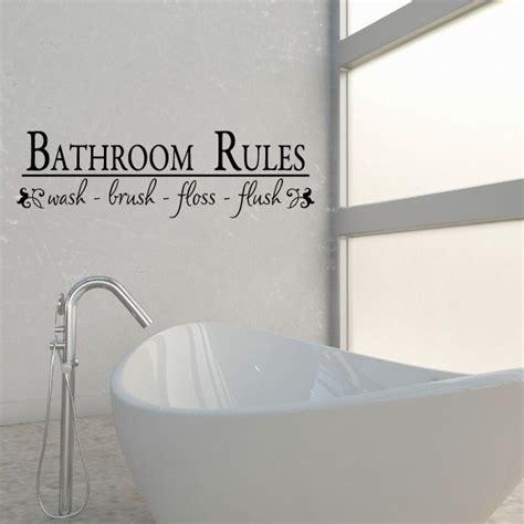 bathroom rules wash brush floss flush vinyl wall decal wall quote wall decor