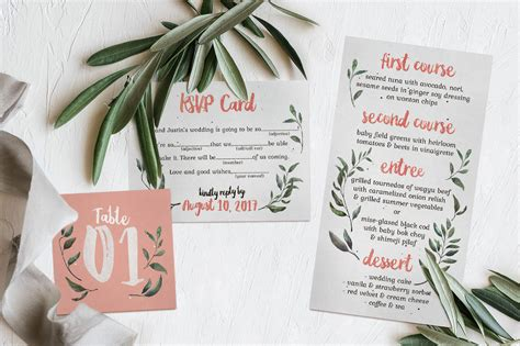 Rustic Pink & Green Wedding Invitation Suite By