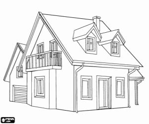 two story house plan houses coloring pages printable