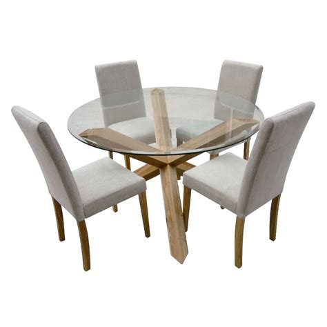 4 chair table set hton oak 120cm round glass dining table with 4 chairs