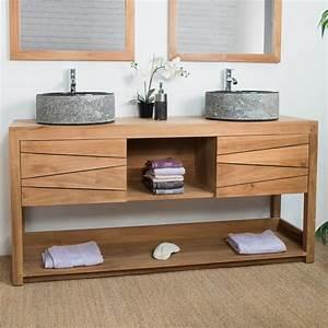 meuble double vasque de salle de bain en teck cosy 160cm With meuble salle de bain double vasque a poser