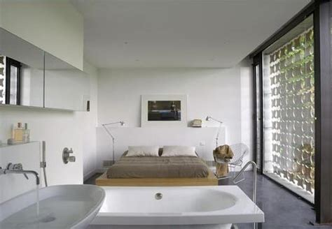 open bathroom in bedroom write sloping box house simple open planning design home