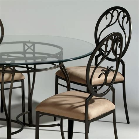 Chintaly Whiting Wrought Iron Dining Side Chairs  Set Of