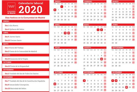 calendario laboral en madrid dos festivos se