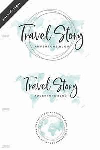 Travel Logo Watercolor Logo, Premade logo Branding Package ...