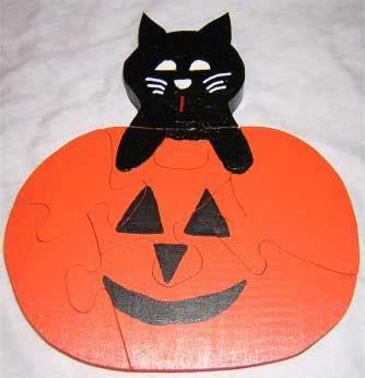 kids halloween puzzles pumpkin  cat puzzle