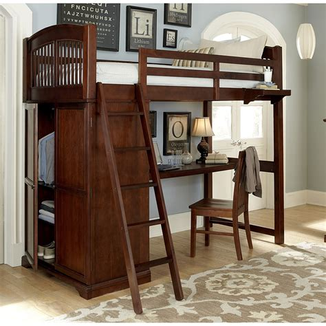 childrens loft bed with desk ne walnut chestnut locker loft bed with desk