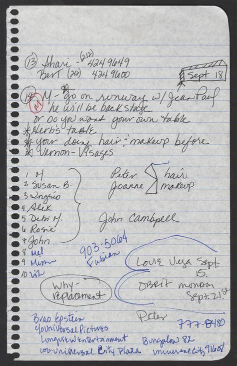 Lot Detail - Madonna Handwritten