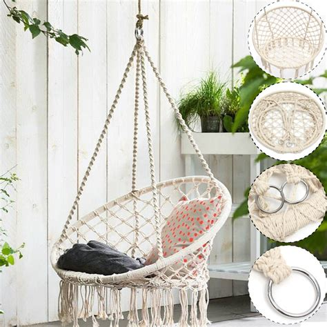 How To Weave A Hammock Chair by Beige Hanging Cotton Rope Macrame Hammock Chair Swing