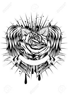 Cross Rose with Wings by P-Nuthouse.deviantart.com on @DeviantArt | tattoos | Pinterest | Cross