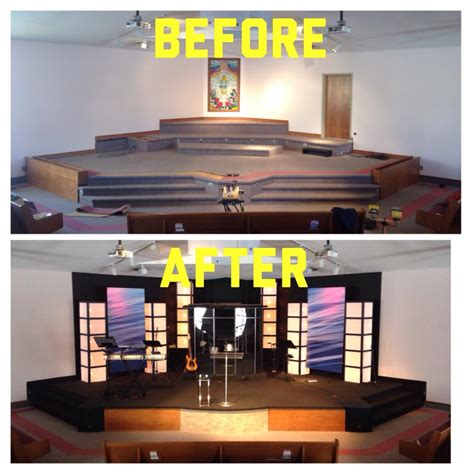 table boxes church stage design ideas