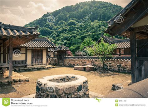 traditional asian village stock photo image  building