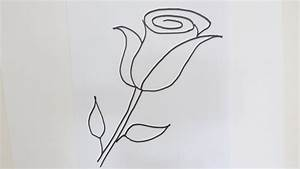 How to draw a rose flower - Easy step-by-step drawing ...