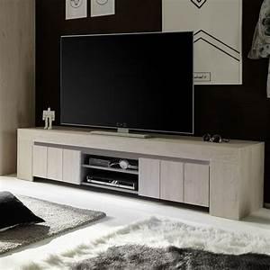 Meuble Chene Clair : meuble tv 2 portes contemporain couleur chne clair pluma ~ Edinachiropracticcenter.com Idées de Décoration