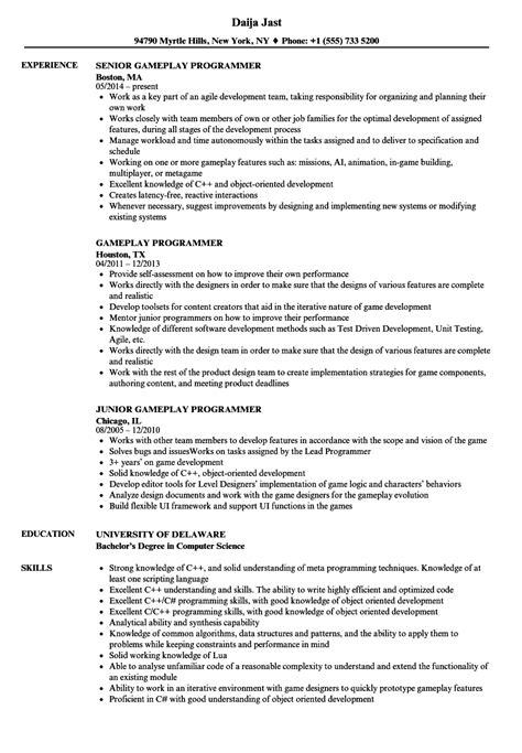 Gameplay Programmer Resume Samples | Velvet Jobs