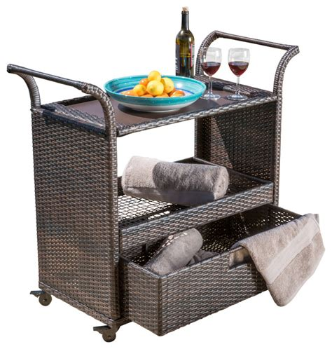shelton multi brown wicker bar cart tropical outdoor