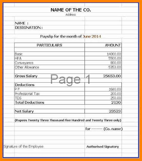 10 salary statement format in excel forklift resume